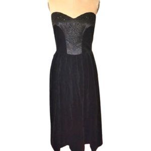 Laura Ashley black velvet beaded vintage dress